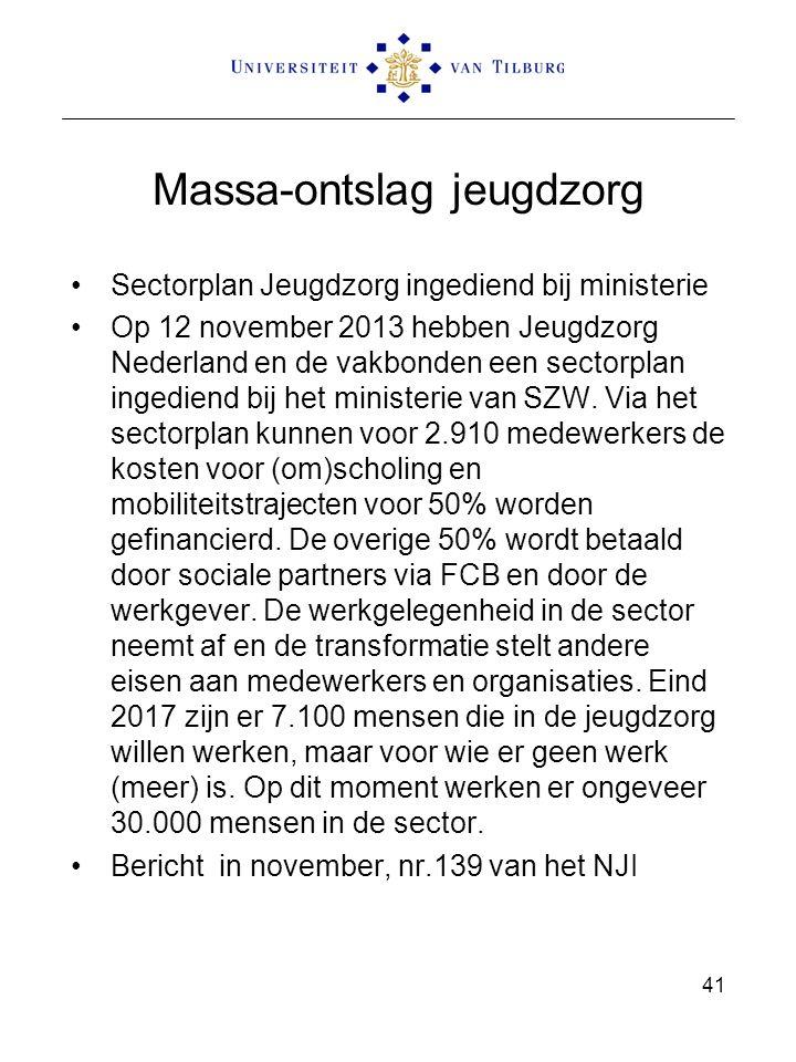 Massa-ontslag jeugdzorg Sectorplan Jeugdzorg ingediend bij ministerie Op 12 november 2013 hebben Jeugdzorg Nederland en de vakbonden een sectorplan ingediend bij het ministerie van SZW.