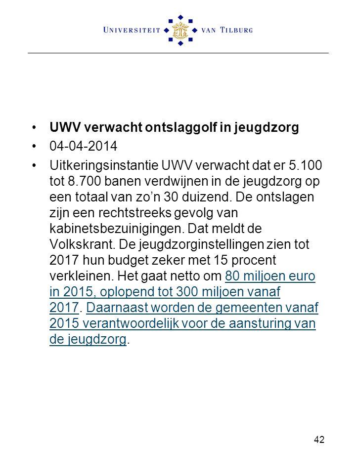 UWV verwacht ontslaggolf in jeugdzorg 04-04-2014 Uitkeringsinstantie UWV verwacht dat er 5.100 tot 8.700 banen verdwijnen in de jeugdzorg op een totaal van zo'n 30 duizend.