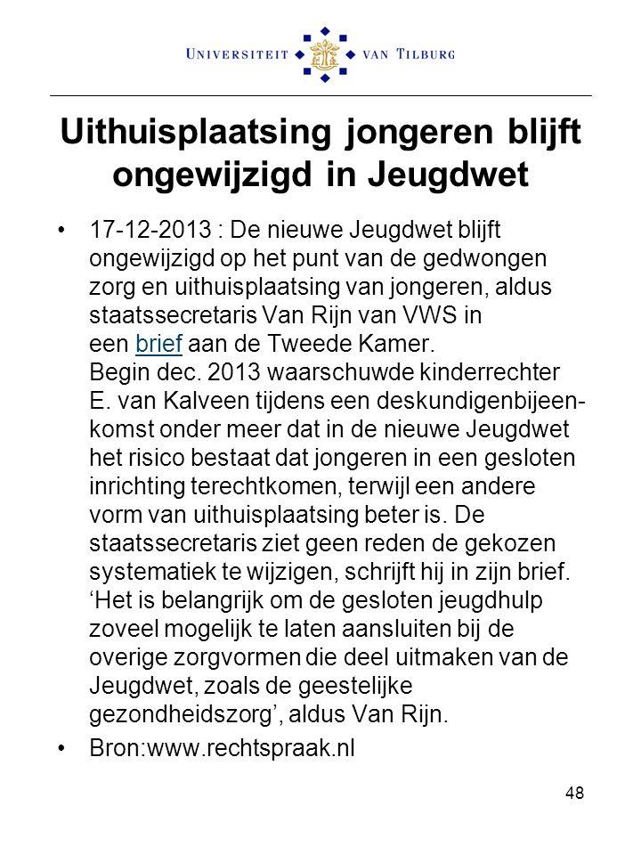 Uithuisplaatsing jongeren blijft ongewijzigd in Jeugdwet 17-12-2013 : De nieuwe Jeugdwet blijft ongewijzigd op het punt van de gedwongen zorg en uithuisplaatsing van jongeren, aldus staatssecretaris Van Rijn van VWS in een brief aan de Tweede Kamer.