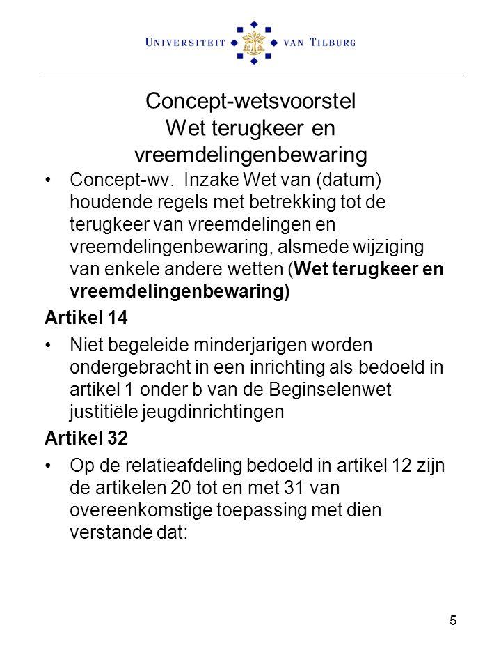 Concept-wetsvoorstel Wet terugkeer en vreemdelingenbewaring Concept-wv. Inzake Wet van (datum) houdende regels met betrekking tot de terugkeer van vre