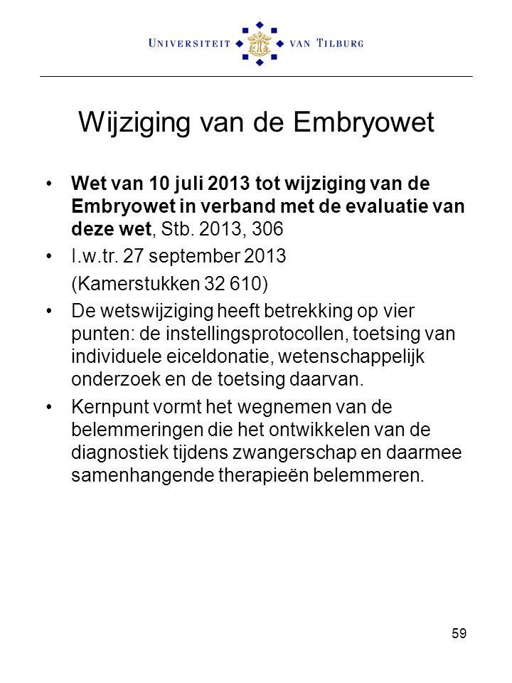 Wijziging van de Embryowet Wet van 10 juli 2013 tot wijziging van de Embryowet in verband met de evaluatie van deze wet, Stb. 2013, 306 I.w.tr. 27 sep