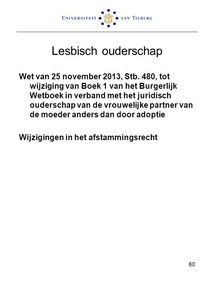 Lesbisch ouderschap Wet van 25 november 2013, Stb. 480, tot wijziging van Boek 1 van het Burgerlijk Wetboek in verband met het juridisch ouderschap va