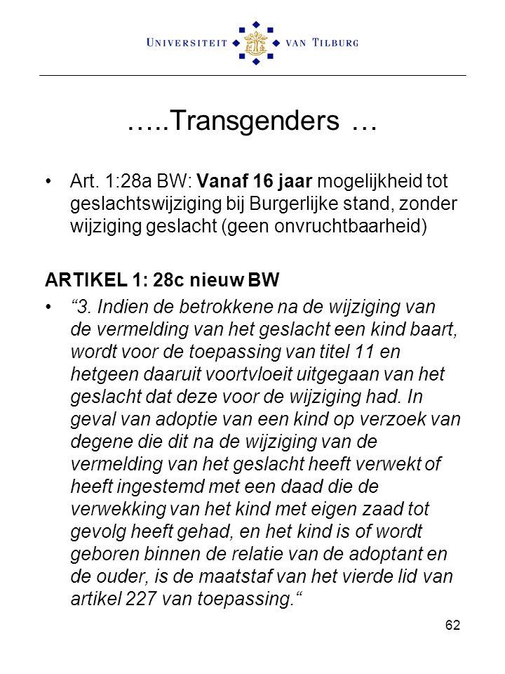 …..Transgenders … Art. 1:28a BW: Vanaf 16 jaar mogelijkheid tot geslachtswijziging bij Burgerlijke stand, zonder wijziging geslacht (geen onvruchtbaar