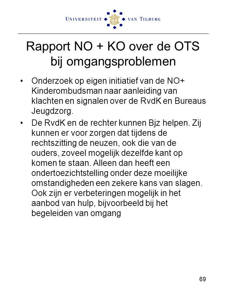 Rapport NO + KO over de OTS bij omgangsproblemen Onderzoek op eigen initiatief van de NO+ Kinderombudsman naar aanleiding van klachten en signalen over de RvdK en Bureaus Jeugdzorg.