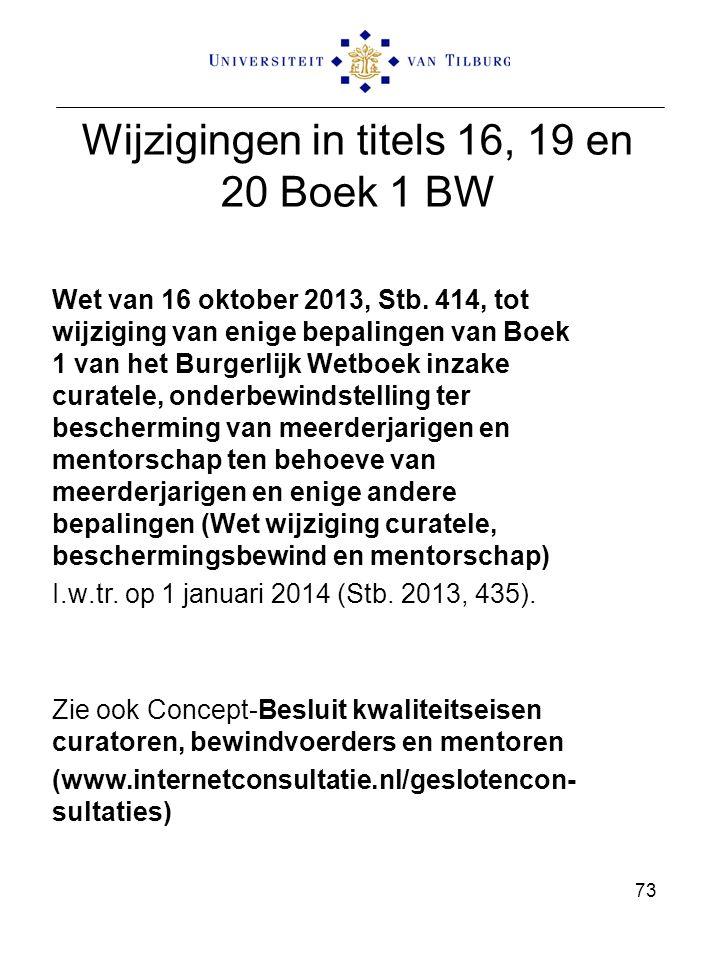 Wijzigingen in titels 16, 19 en 20 Boek 1 BW Wet van 16 oktober 2013, Stb. 414, tot wijziging van enige bepalingen van Boek 1 van het Burgerlijk Wetbo