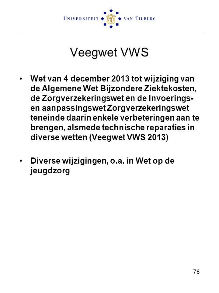 Veegwet VWS Wet van 4 december 2013 tot wijziging van de Algemene Wet Bijzondere Ziektekosten, de Zorgverzekeringswet en de Invoerings- en aanpassingswet Zorgverzekeringswet teneinde daarin enkele verbeteringen aan te brengen, alsmede technische reparaties in diverse wetten (Veegwet VWS 2013) Diverse wijzigingen, o.a.