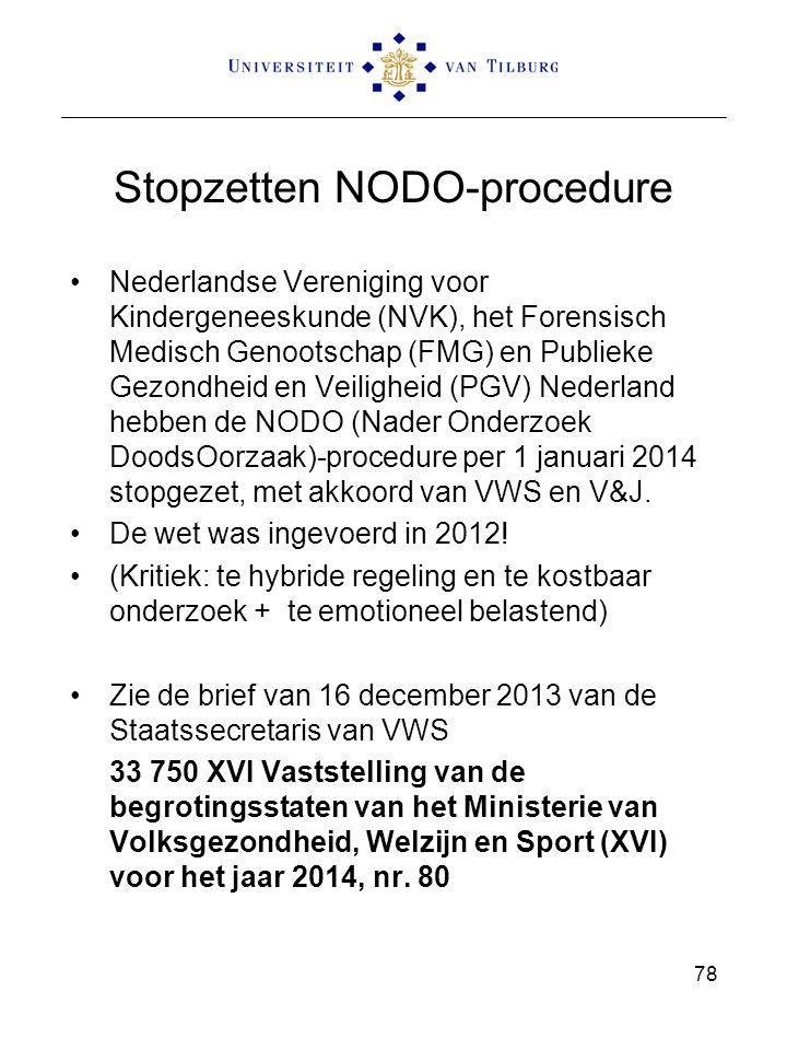 Stopzetten NODO-procedure Nederlandse Vereniging voor Kindergeneeskunde (NVK), het Forensisch Medisch Genootschap (FMG) en Publieke Gezondheid en Veiligheid (PGV) Nederland hebben de NODO (Nader Onderzoek DoodsOorzaak)-procedure per 1 januari 2014 stopgezet, met akkoord van VWS en V&J.