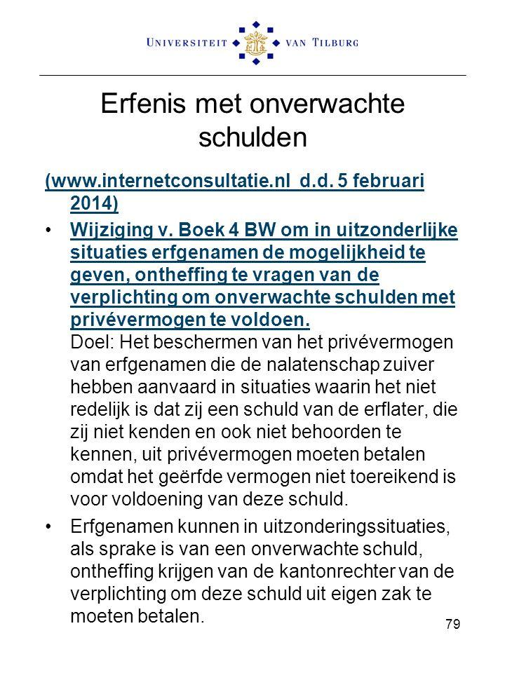 Erfenis met onverwachte schulden (www.internetconsultatie.nl d.d. 5 februari 2014) Wijziging v. Boek 4 BW om in uitzonderlijke situaties erfgenamen de