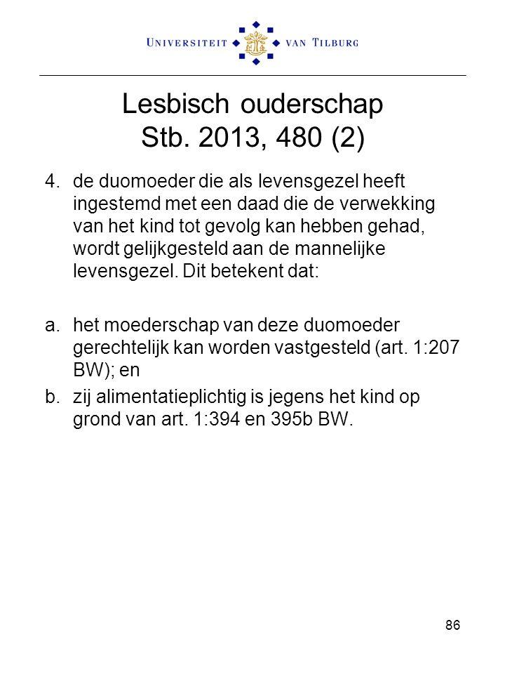 86 Lesbisch ouderschap Stb. 2013, 480 (2) 4.de duomoeder die als levensgezel heeft ingestemd met een daad die de verwekking van het kind tot gevolg ka