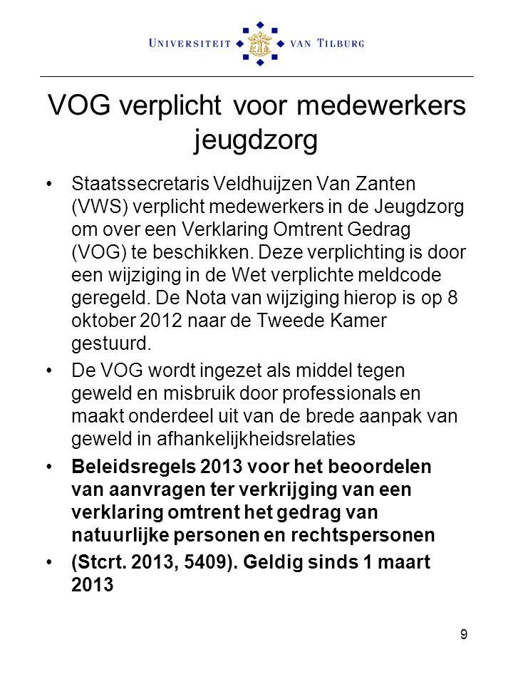 VOG verplicht voor medewerkers jeugdzorg Staatssecretaris Veldhuijzen Van Zanten (VWS) verplicht medewerkers in de Jeugdzorg om over een Verklaring Omtrent Gedrag (VOG) te beschikken.