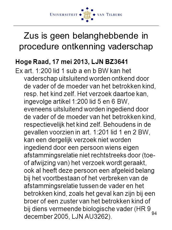 Zus is geen belanghebbende in procedure ontkenning vaderschap Hoge Raad, 17 mei 2013, LJN BZ3641 Ex art. 1:200 lid 1 sub a en b BW kan het vaderschap