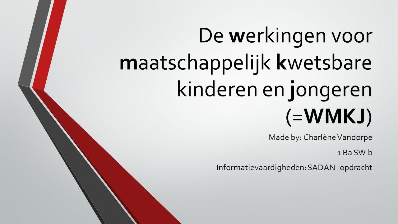 De werkingen voor maatschappelijk kwetsbare kinderen en jongeren (=WMKJ) Made by: Charlène Vandorpe 1 Ba SW b Informatievaardigheden: SADAN- opdracht