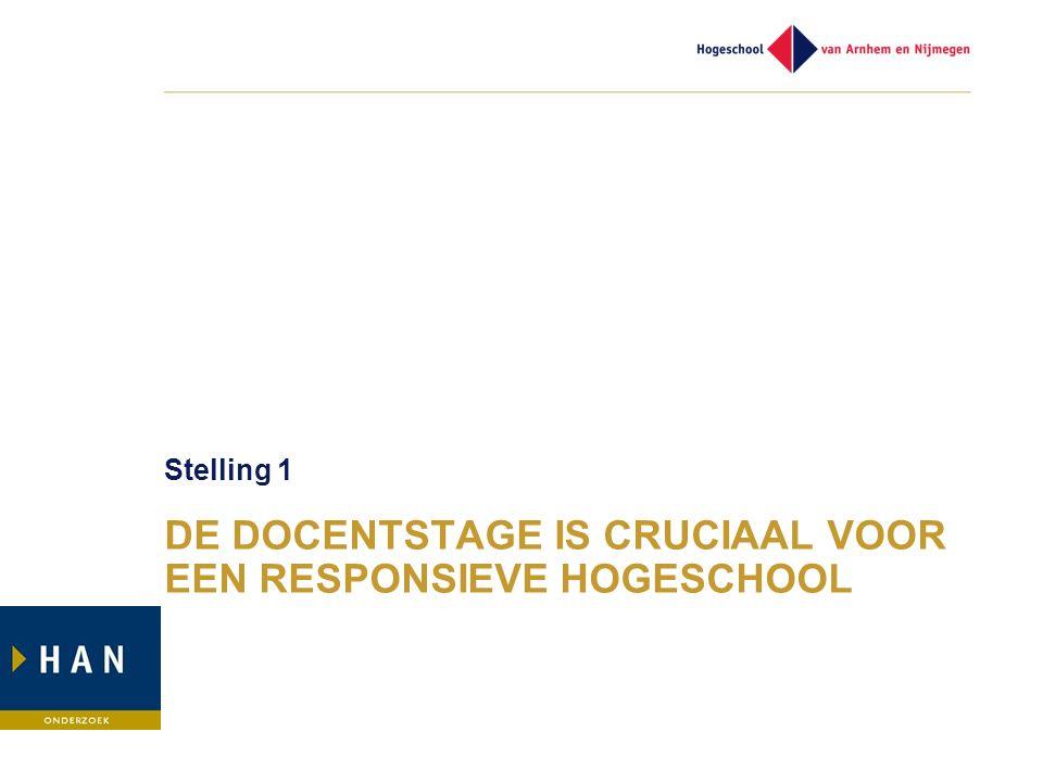 DE DOCENTSTAGE IS CRUCIAAL VOOR EEN RESPONSIEVE HOGESCHOOL Stelling 1