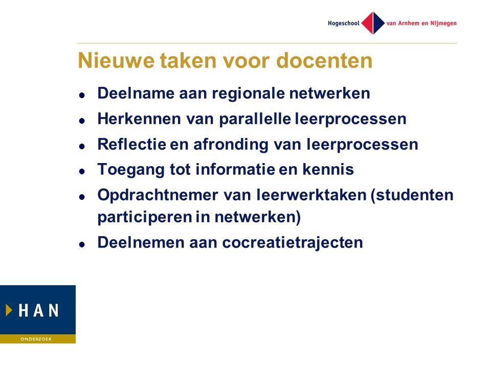 Nieuwe taken voor docenten Deelname aan regionale netwerken Herkennen van parallelle leerprocessen Reflectie en afronding van leerprocessen Toegang to