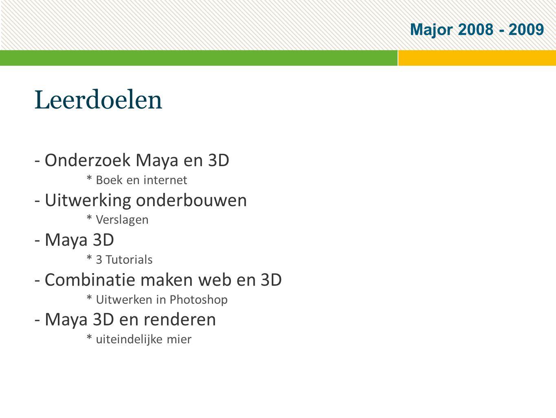 Major 2008 - 2009 Leerdoelen - Onderzoek Maya en 3D * Boek en internet - Uitwerking onderbouwen * Verslagen - Maya 3D * 3 Tutorials - Combinatie maken web en 3D * Uitwerken in Photoshop - Maya 3D en renderen * uiteindelijke mier