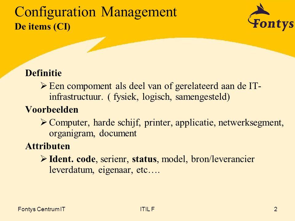 Fontys Centrum ITITIL F2 Definitie  Een compoment als deel van of gerelateerd aan de IT- infrastructuur.