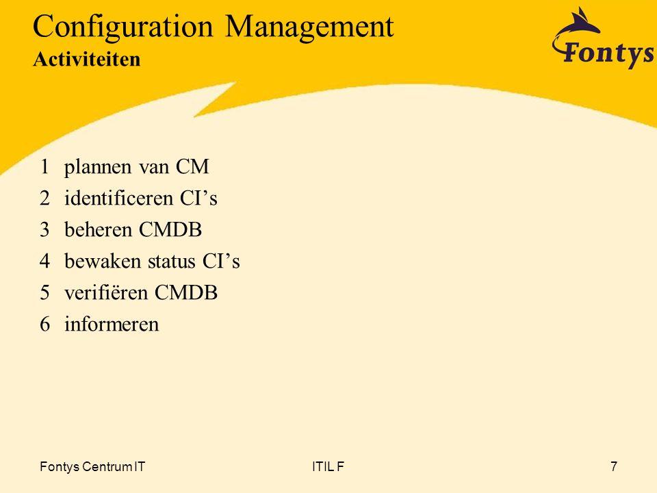 Fontys Centrum ITITIL F7 1plannen van CM 2identificeren CI's 3beheren CMDB 4bewaken status CI's 5verifiëren CMDB 6informeren Configuration Management Activiteiten