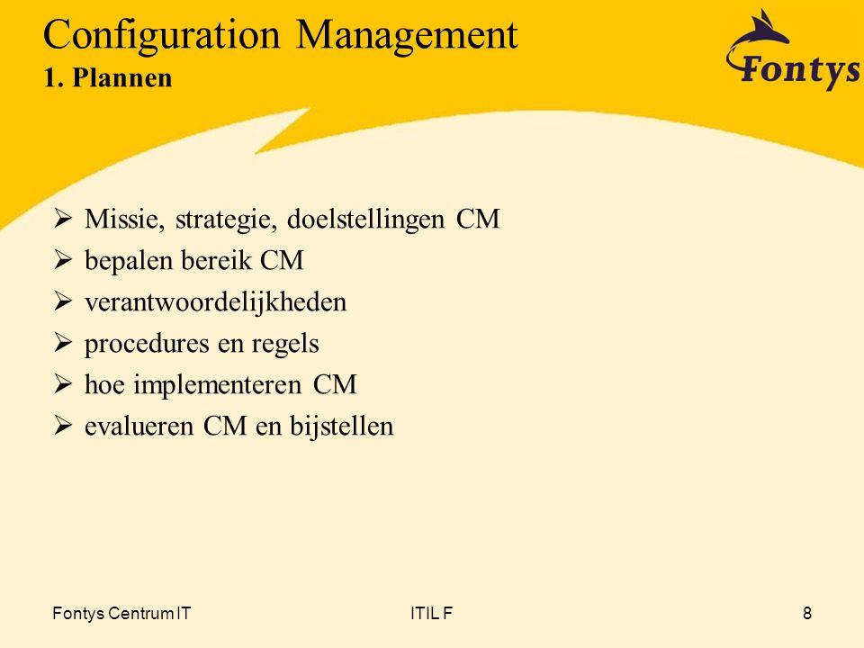 Fontys Centrum ITITIL F8  Missie, strategie, doelstellingen CM  bepalen bereik CM  verantwoordelijkheden  procedures en regels  hoe implementeren CM  evalueren CM en bijstellen Configuration Management 1.