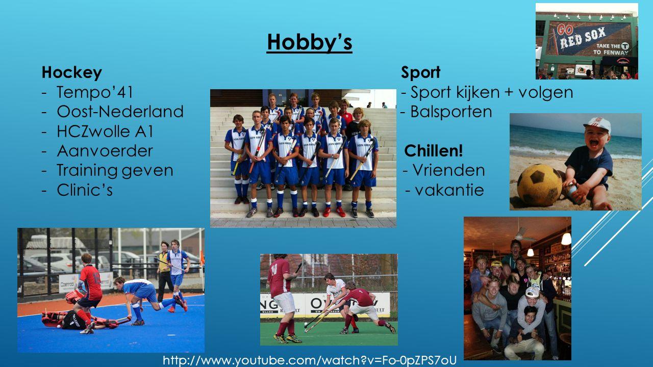 Hobby's Hockey Sport -Tempo'41 - Sport kijken + volgen -Oost-Nederland - Balsporten -HCZwolle A1 -Aanvoerder Chillen.