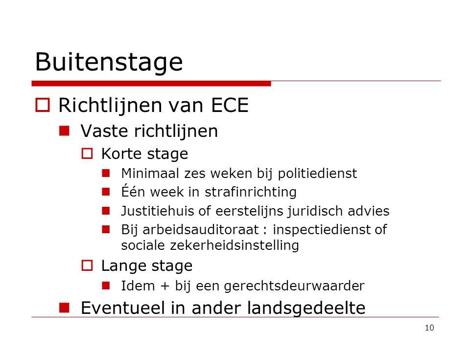 Buitenstage  Richtlijnen van ECE Vaste richtlijnen  Korte stage Minimaal zes weken bij politiedienst Één week in strafinrichting Justitiehuis of eer