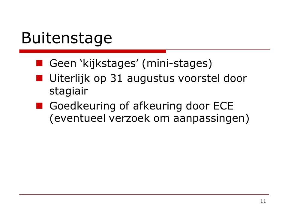 Buitenstage Geen 'kijkstages' (mini-stages) Uiterlijk op 31 augustus voorstel door stagiair Goedkeuring of afkeuring door ECE (eventueel verzoek om aa