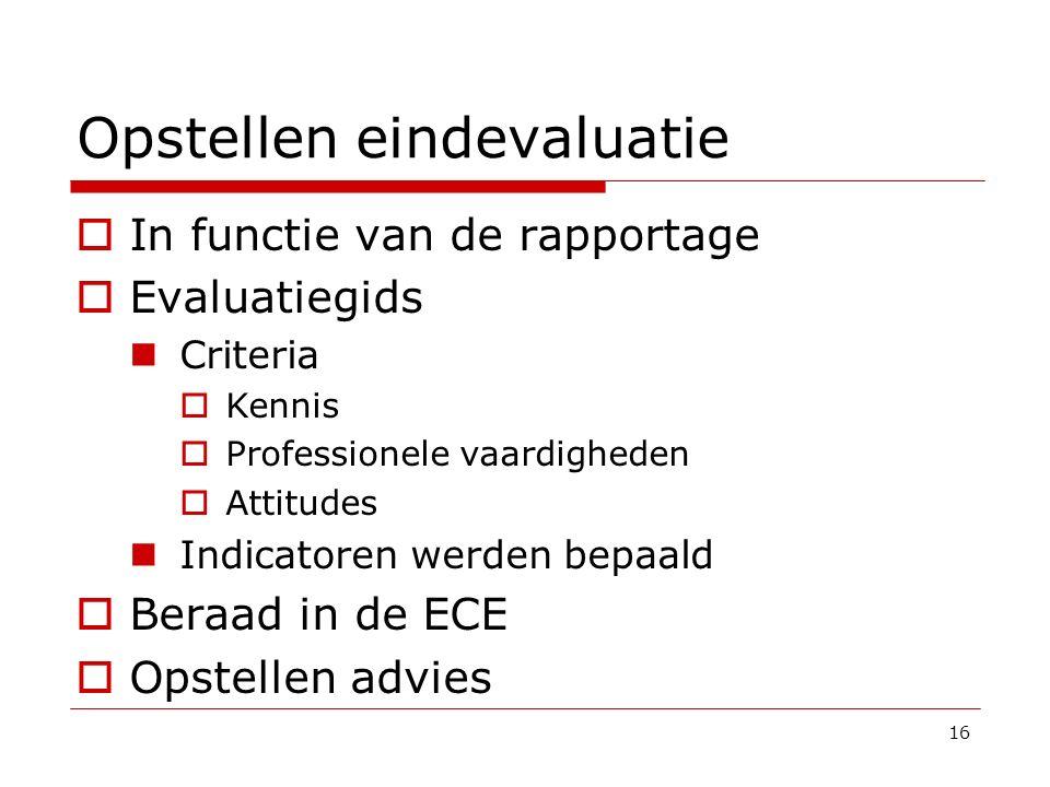 Opstellen eindevaluatie  In functie van de rapportage  Evaluatiegids Criteria  Kennis  Professionele vaardigheden  Attitudes Indicatoren werden b