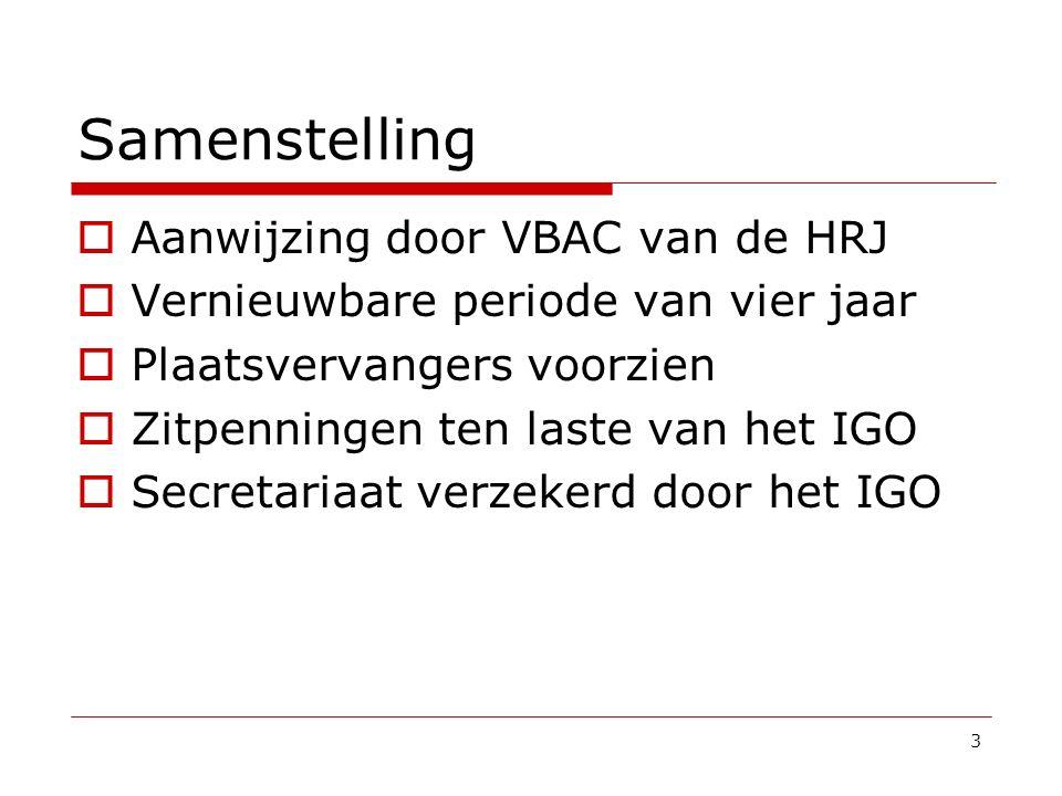 Samenstelling  Aanwijzing door VBAC van de HRJ  Vernieuwbare periode van vier jaar  Plaatsvervangers voorzien  Zitpenningen ten laste van het IGO