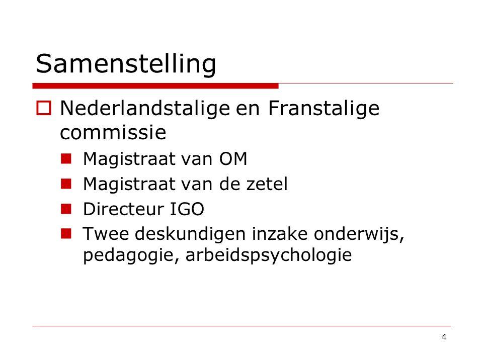 Samenstelling  Nederlandstalige en Franstalige commissie Magistraat van OM Magistraat van de zetel Directeur IGO Twee deskundigen inzake onderwijs, p