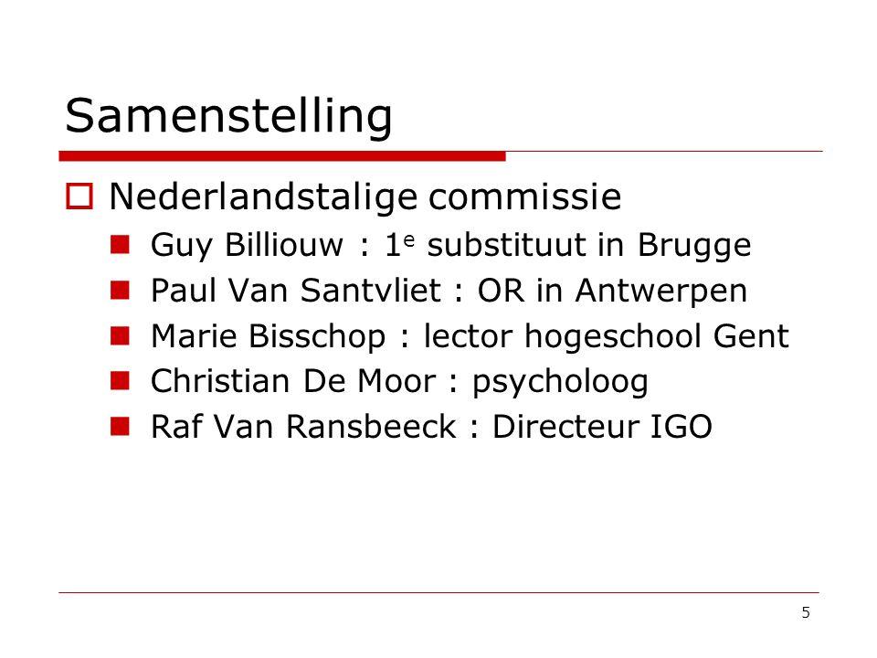 Samenstelling  Nederlandstalige commissie Guy Billiouw : 1 e substituut in Brugge Paul Van Santvliet : OR in Antwerpen Marie Bisschop : lector hogesc