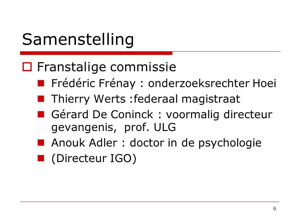 Samenstelling  Franstalige commissie Frédéric Frénay : onderzoeksrechter Hoei Thierry Werts :federaal magistraat Gérard De Coninck : voormalig direct
