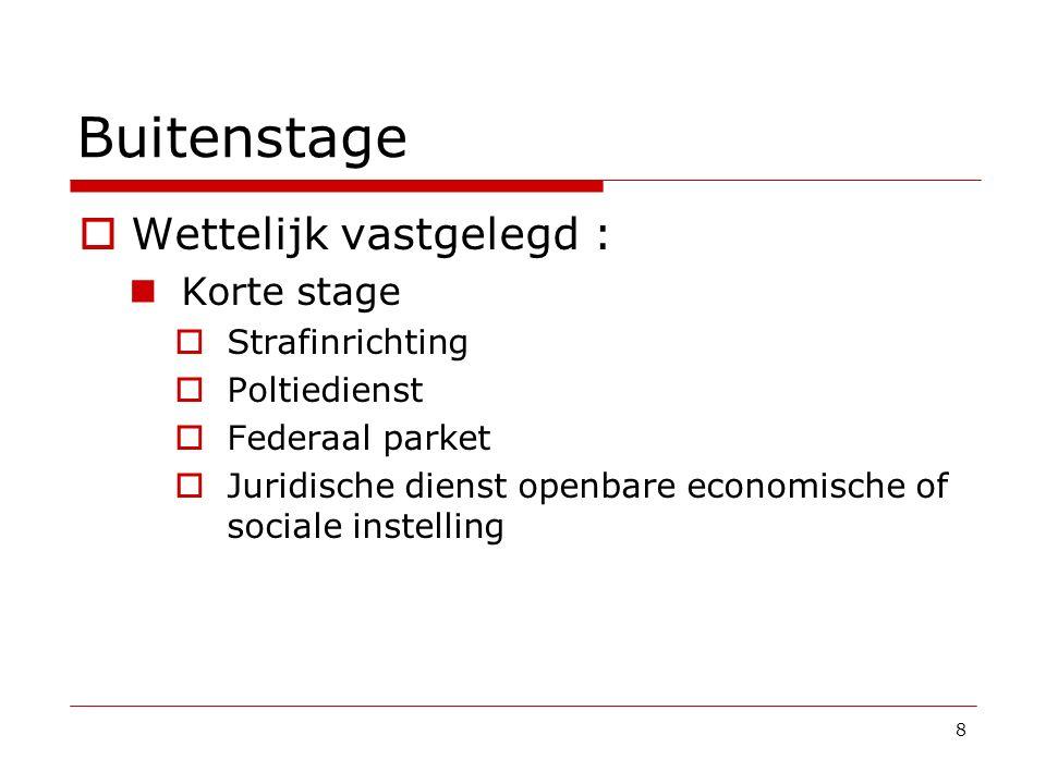 Buitenstage  Wettelijk vastgelegd : Korte stage  Strafinrichting  Poltiedienst  Federaal parket  Juridische dienst openbare economische of social