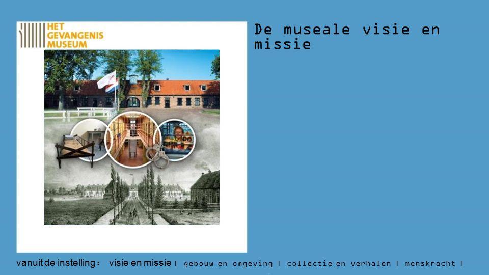 De museale visie en missie vanuit de instelling : visie en missie | gebouw en omgeving | collectie en verhalen | menskracht | budget | aantallen