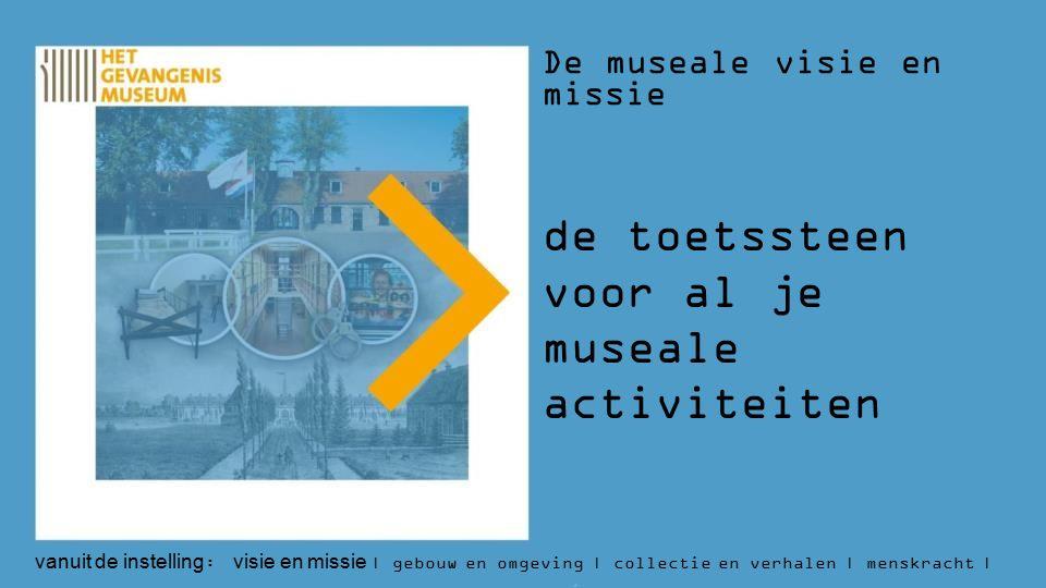 De museale visie en missie de toetssteen voor al je museale activiteiten vanuit de instelling : visie en missie | gebouw en omgeving | collectie en verhalen | menskracht | budget | aantallen