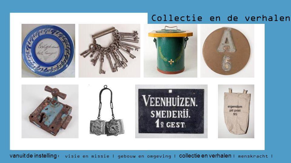 Collectie en de verhalen vanuit de instelling : visie en missie | gebouw en omgeving | collectie en verhalen | menskracht | budget | aantallen