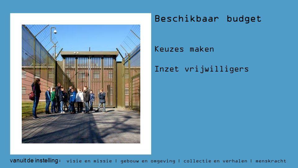 vanuit de instelling : visie en missie | gebouw en omgeving | collectie en verhalen | menskracht | budget | aantallen Beschikbaar budget Keuzes maken Inzet vrijwilligers