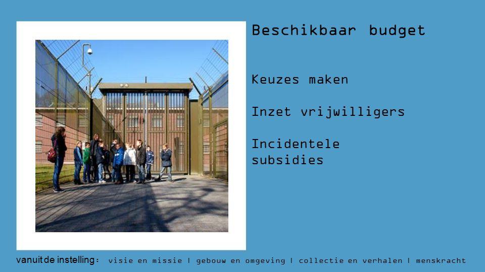 Beschikbaar budget Keuzes maken Inzet vrijwilligers Incidentele subsidies vanuit de instelling : visie en missie | gebouw en omgeving | collectie en verhalen | menskracht | budget | aantallen