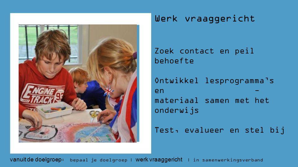 Werk vraaggericht Zoek contact en peil behoefte Ontwikkel lesprogramma's en - materiaal samen met het onderwijs Test, evalueer en stel bij vanuit de doelgroep : bepaal je doelgroep | werk vraaggericht | in samenwerkingsverband