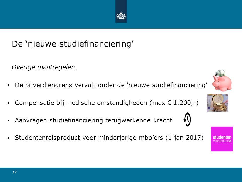 17 De bijverdiengrens vervalt onder de 'nieuwe studiefinanciering' Compensatie bij medische omstandigheden (max € 1.200,-) Aanvragen studiefinanciering terugwerkende kracht Studentenreisproduct voor minderjarige mbo'ers (1 jan 2017) De 'nieuwe studiefinanciering' Overige maatregelen