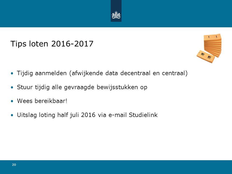 20 Tips loten 2016-2017 Tijdig aanmelden (afwijkende data decentraal en centraal) Stuur tijdig alle gevraagde bewijsstukken op Wees bereikbaar! Uitsla