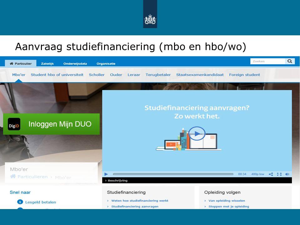 Aanvraag studiefinanciering (mbo en hbo/wo)