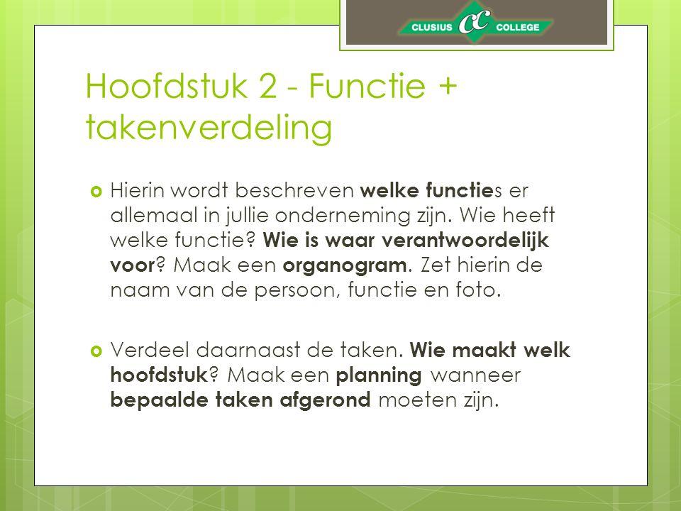Hoofdstuk 2 - Functie + takenverdeling  Hierin wordt beschreven welke functie s er allemaal in jullie onderneming zijn.