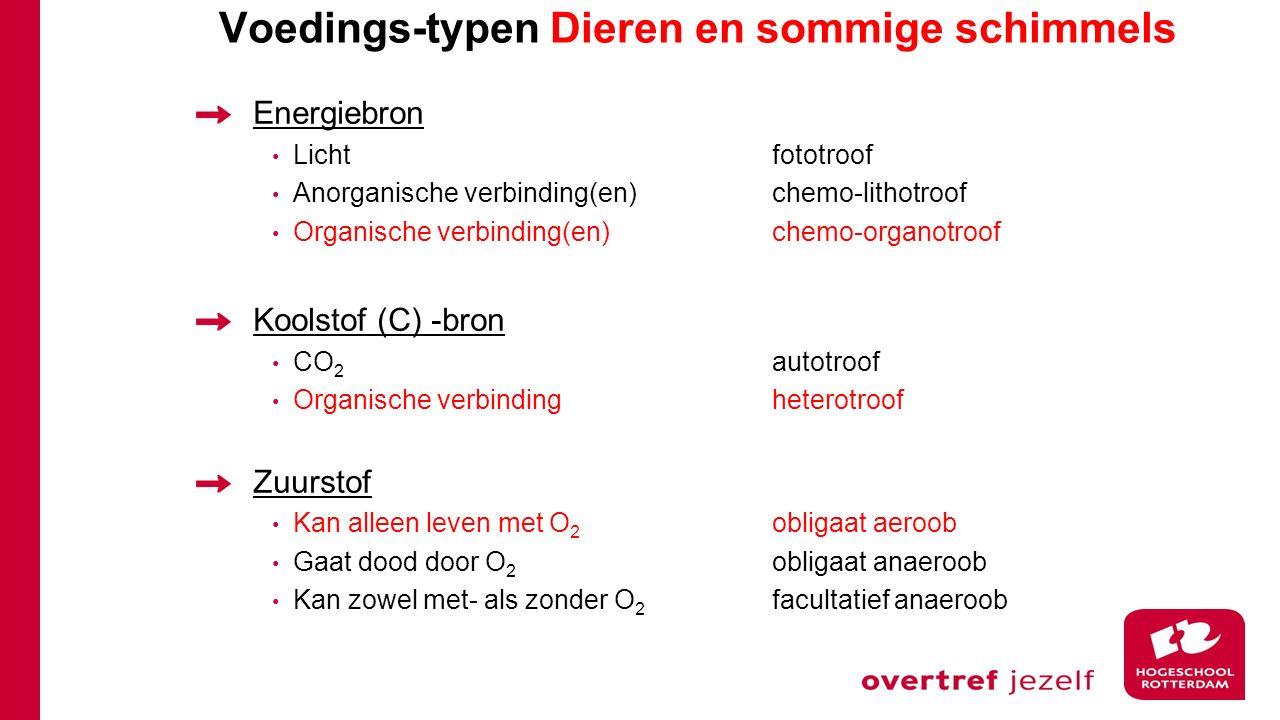 Voedings-typen Dieren en sommige schimmels Energiebron Lichtfototroof Anorganische verbinding(en)chemo-lithotroof Organische verbinding(en)chemo-organ