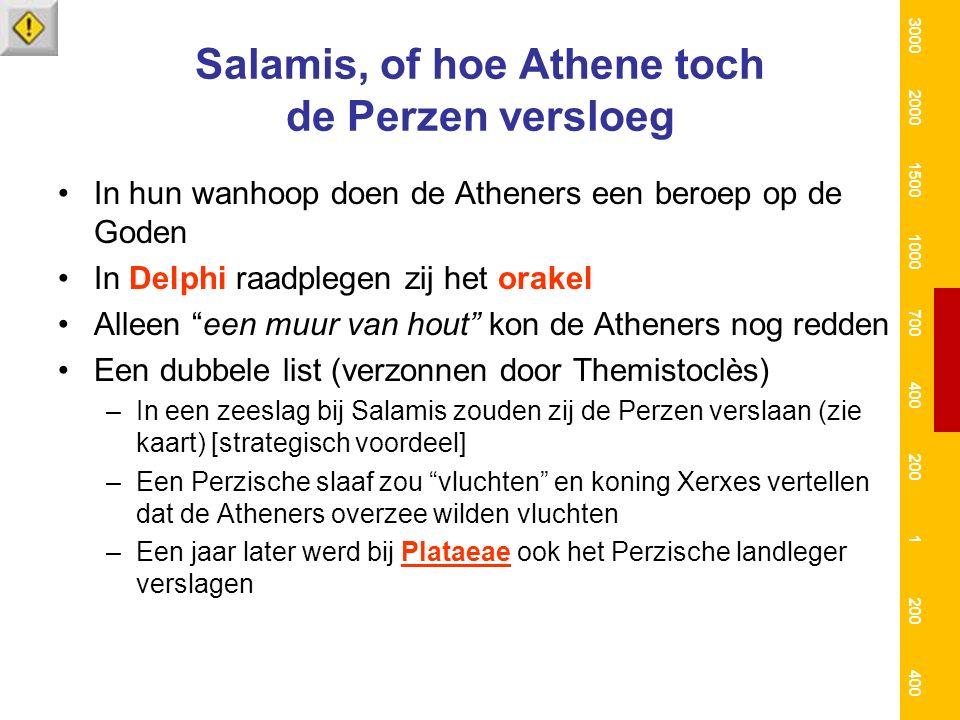 """Salamis, of hoe Athene toch de Perzen versloeg In hun wanhoop doen de Atheners een beroep op de Goden In Delphi raadplegen zij het orakel Alleen """"een"""