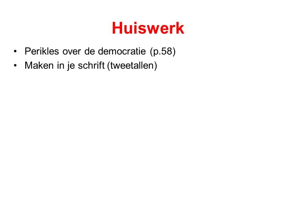 Huiswerk Perikles over de democratie (p.58) Maken in je schrift (tweetallen)