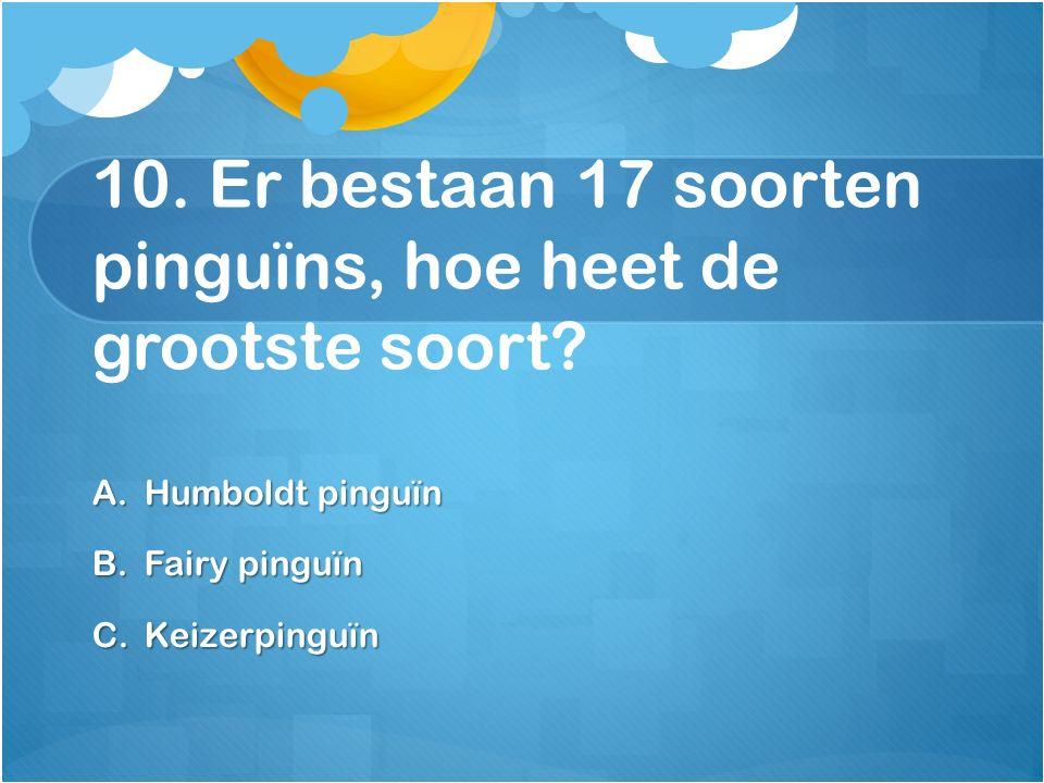 10. Er bestaan 17 soorten pinguïns, hoe heet de grootste soort? A.Humboldt pinguïn B.Fairy pinguïn C.Keizerpinguïn