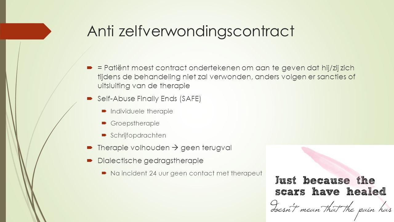Anti zelfverwondingscontract  = Patiënt moest contract ondertekenen om aan te geven dat hij/zij zich tijdens de behandeling niet zal verwonden, ander