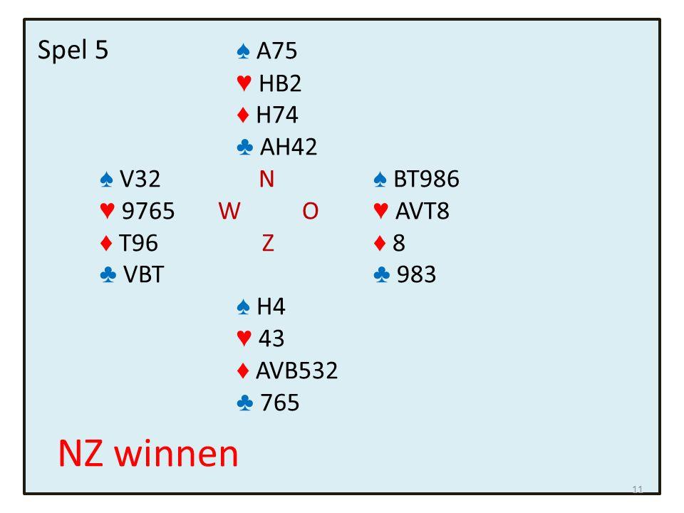 Spel 5 ♠ A75 ♥ HB2 ♦ H74 ♣ AH42 ♠ V32 N ♠ BT986 ♥ 9765 W O ♥ AVT8 ♦ T96 Z ♦ 8 ♣ VBT ♣ 983 ♠ H4 ♥ 43 ♦ AVB532 ♣ 765 NZ winnen 11