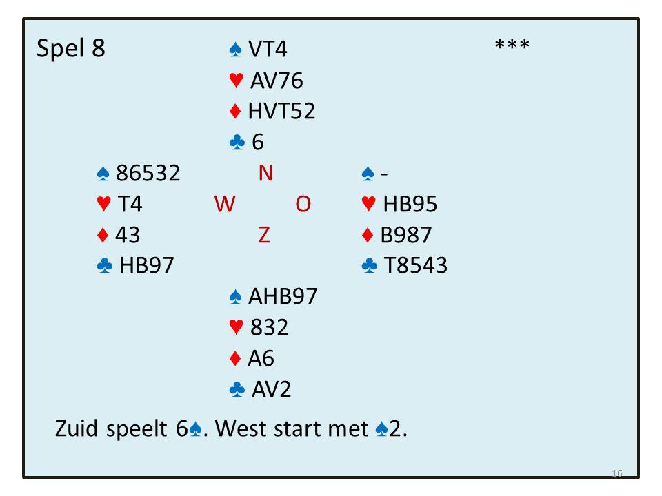 Spel 8 ♠ VT4*** ♥ AV76 ♦ HVT52 ♣ 6 ♠ 86532 N ♠ - ♥ T4 W O ♥ HB95 ♦ 43 Z ♦ B987 ♣ HB97 ♣ T8543 ♠ AHB97 ♥ 832 ♦ A6 ♣ AV2 Zuid speelt 6 ♠.