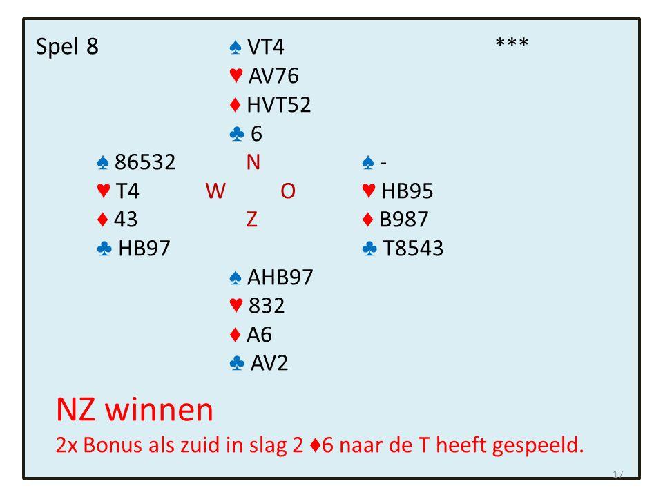 Spel 8 ♠ VT4*** ♥ AV76 ♦ HVT52 ♣ 6 ♠ 86532 N ♠ - ♥ T4 W O ♥ HB95 ♦ 43 Z ♦ B987 ♣ HB97 ♣ T8543 ♠ AHB97 ♥ 832 ♦ A6 ♣ AV2 NZ winnen 2x Bonus als zuid in slag 2 ♦ 6 naar de T heeft gespeeld.