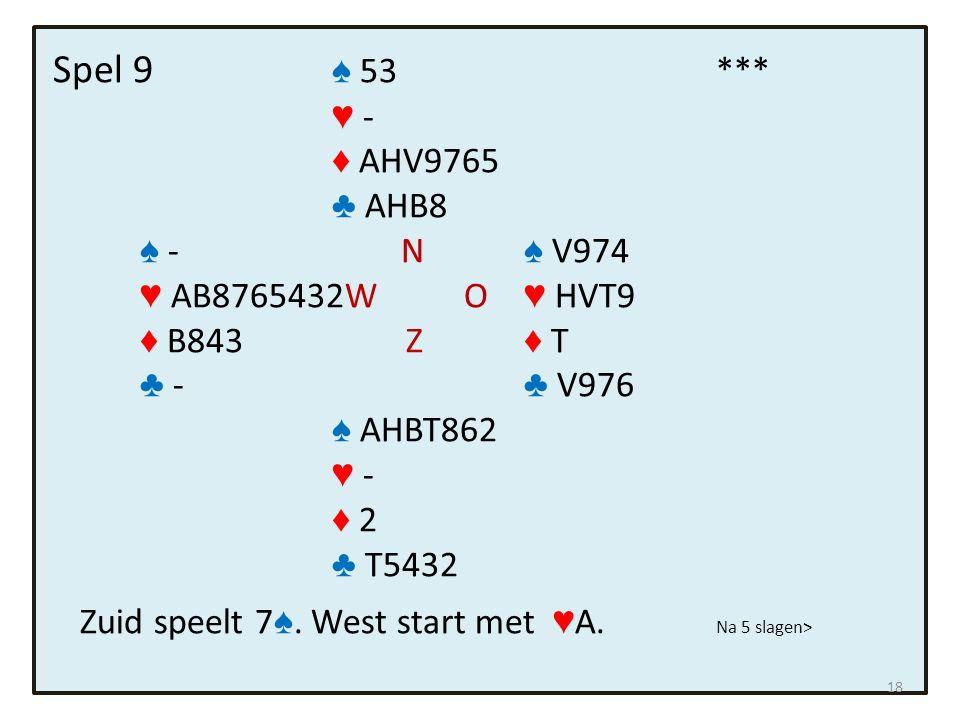 Spel 9 ♠ 53*** ♥ - ♦ AHV9765 ♣ AHB8 ♠ - N ♠ V974 ♥ AB8765432W O ♥ HVT9 ♦ B843 Z ♦ T ♣ - ♣ V976 ♠ AHBT862 ♥ - ♦ 2 ♣ T5432 Zuid speelt 7 ♠.